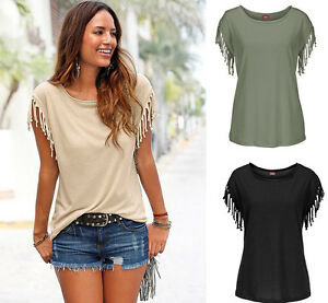 Ladies Girls Tassels Fashion Shirts Tops Solid Blouse Casual Blouses