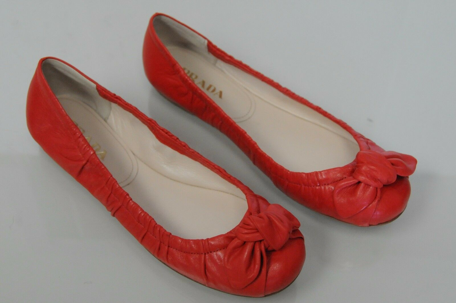 New PRADA Flats Red Red Red SOFTEEST Leather Ballet Flats Antic Soft Lacca Bow shoes 38 f01c22