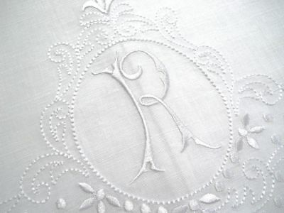 Large White Linen Guest Bathroom Hand Towel monogrammed A hemstitched whites
