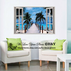 Palm-Bridge-3D-Window-View-Removable-Wall-Art-Sticker-Vinyl-Decal-Decor-Mural