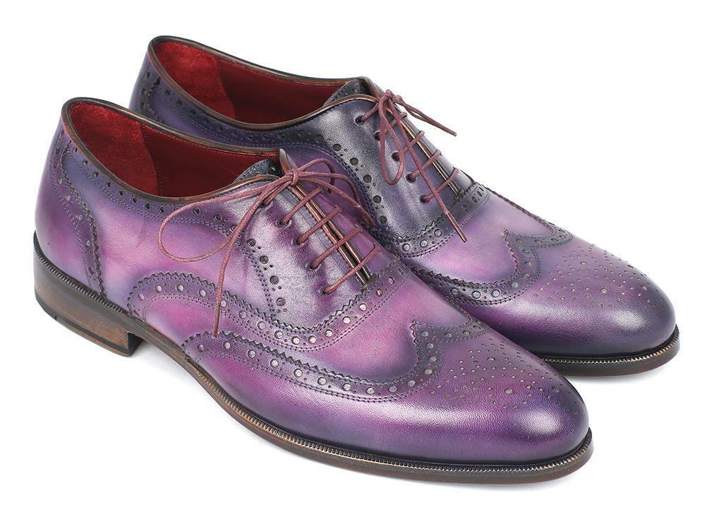 Paul Parkman para hombre Wngtip Oxfords Púrpura & Navy Zapatos hechos a mano