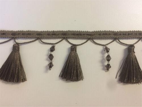 Beaded Cream Mushroom Tassel Fringe /& Decorative Braid Furnishing Trimming