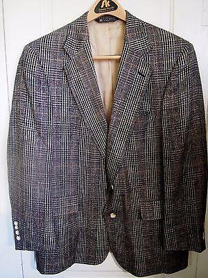 Mens Vintage 100% Silk Austin Reed Plaid Sportcoat Blazer Union Made USA Size 42