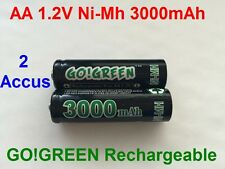 2 Piles AA 3000mAh Rechargeable Mignon LR6 1.2V Ni-Mh  TRES PUISSANT - HOT
