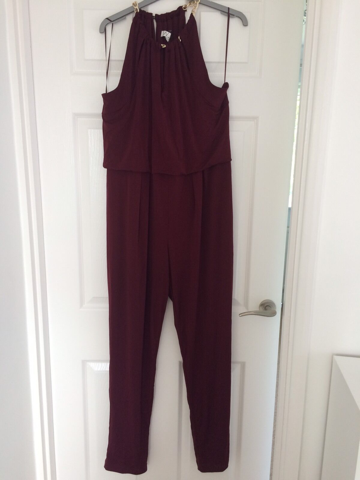 WALLIS PLUM PURPLE JUMPSUIT BODYSUIT ALL IN ONE  With gold Chain-Grecian-14