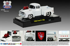 M2MACHINES DIECAST METAL 1:64 SCALE GROUND POUNDER WHITE 1956 FORD F-100 TRUCK