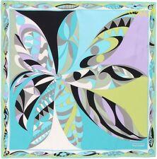 """EMILIO PUCCI Turquoise & lemon UZBEKI silk 34"""" LARGE scarf NEW Authentic $340!"""