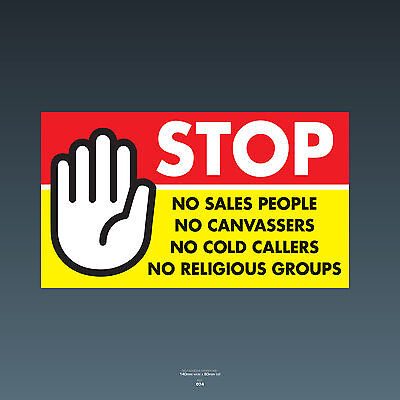 SKU77 stop cold calling porte autocollant no Canvassers callers groupes religieux signe