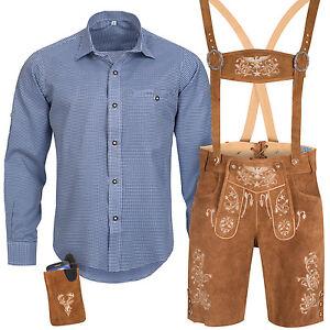 Trachten-Set-Herren-Trachten-Lederhose-mit-Tracht-Traeger-Hemd-Tasche-Oktoberfest