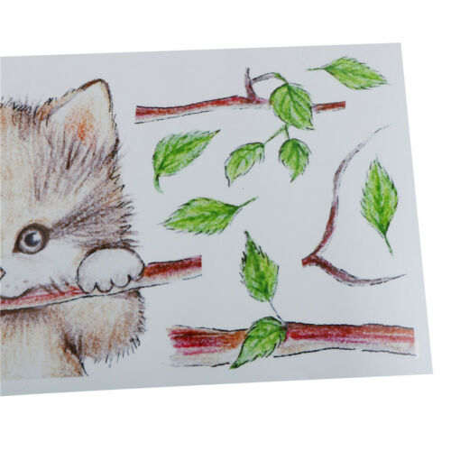 beautiful cats tree branch butterfly switch wall sticker animal art sticker HGUK