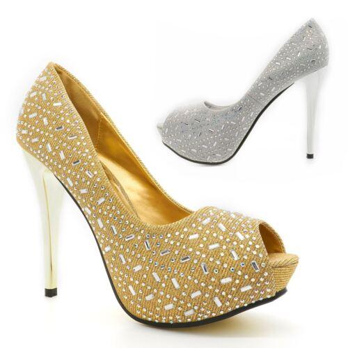 Womens Concealed Platform Stiletto Ladies Peep Toe Sandal Shoes Heel Slip On New