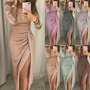 d96aa56dc3a8 Women Off Shoulder Long Sleeve Bodycon Ladies Evening Cocktail Party ...