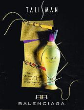 PUBLICITE ADVERTISING 035  1994  TALISMAN  parfum femme BALENCIAGA