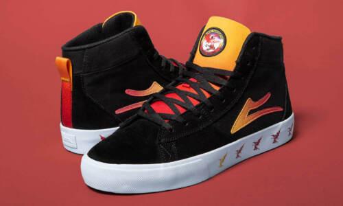 Lakai Skateboard Shoes Black Sabbath Newport Hi Black//Gradient Suede