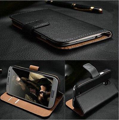 Black Vintage Folio Flip Slot Wallet Leather Stand Case Cover For Smart Phones
