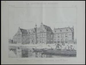 Amsterdam, Etablissement Sainte Elisabeth - 1893 - Planche Architecture - Bleijs Usines Et Mines