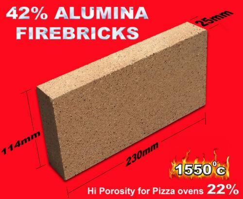 Firebricks Wood fired Pizza Oven 42/% high Temp 230x114x25mm fire bricks