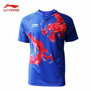 2019-New-Li-Ning-Quick-drying-men-039-s-Tops-tennis-clothes-T-shirt-Dragon-print