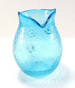 Vintage-Mid-Century-Modern-Art-Glass-Hand-Blown-Blue-Honeycomb-Owl-Pitcher-Vase