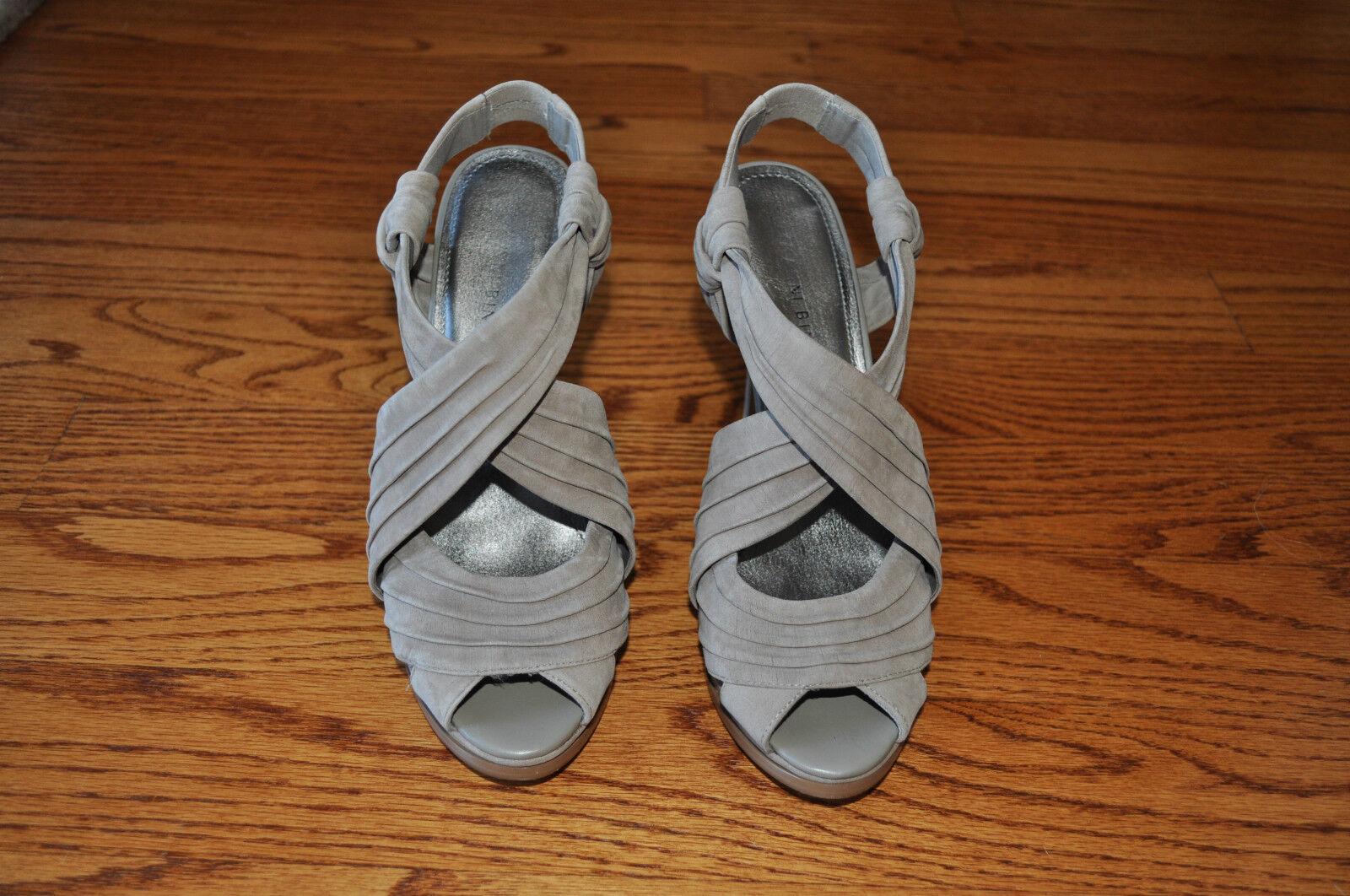 Womens GIANNI BINI Beige Suede Open Toe Heels shoes Size 8.5 M