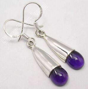 925-STERLING-Silver-Natural-PURPLE-AMETHYST-ARTISAN-CAP-Earrings-1-5-034