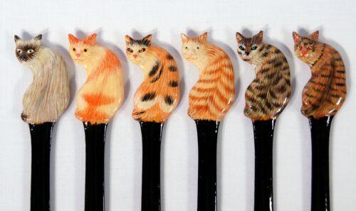 Arte pintado a mano Surtidos Siamés Gris marrón Gato Abrecartas 124c juego De 12