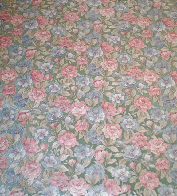 Vintage Satin Blue /& Pink Floral on Green by Porcelain Prints 19505