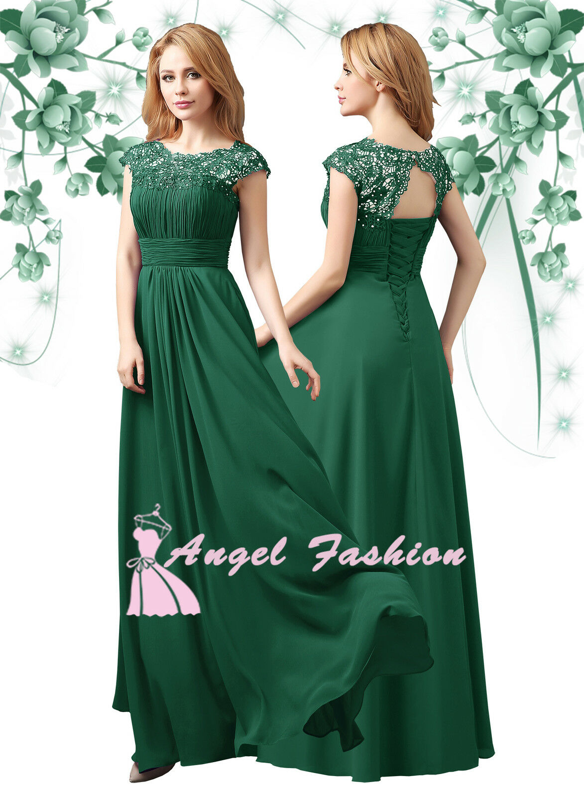 ANGEL M03 Emerald Green Lace Full Length Bridesmaid Prom Evening Dress UK 8 - 24