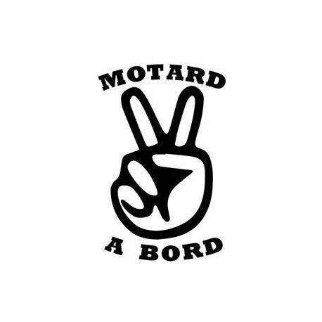 Autocollant Motard à Bord sticker blanc 4 cm