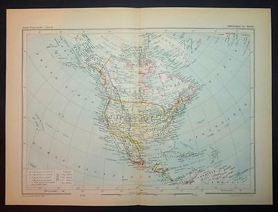 1886 Antique Print Colour Map Of Amerique Du Nord Nortth America French Carte Sales Of Quality Assurance