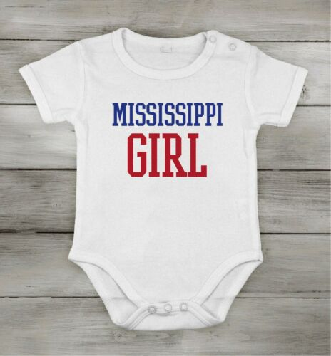 Baby Cotton unisex Newborn bodysuit Short One-piece mississippi girl usa state