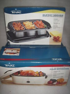 20 quart rival roaster oven ro 220 w new buffet server br 200 rh ebay com kenmore roaster oven with buffet server ge roaster oven with buffet server
