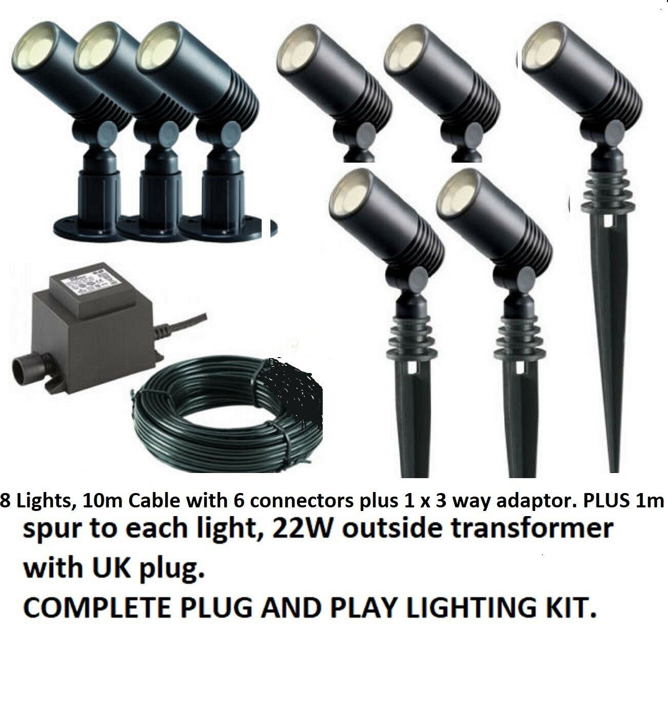 Alder Spike Garden Outdoor Light Kit 12v    LED 8 Light Kit Plug and Play 205674