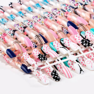 Details about 24 Tips Leopard Bow Pattern False French Nail Art Acrylic  Full Cover Party Nail