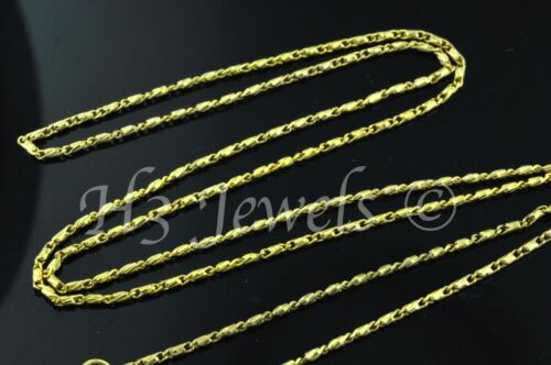 3.20gr 18k solid yellow gold diamond cut bead barrel chain necklace 18 inch #466
