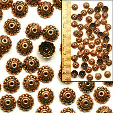 SOLID COPPER 10mm Bali Style Fancy Handmade Fluted Cone Flower Bead Caps 60pc