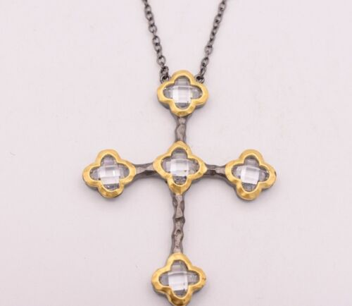 Cross Bezel Set Faceted CZ Pendant Necklace with Black Chain 24K Gold Plated