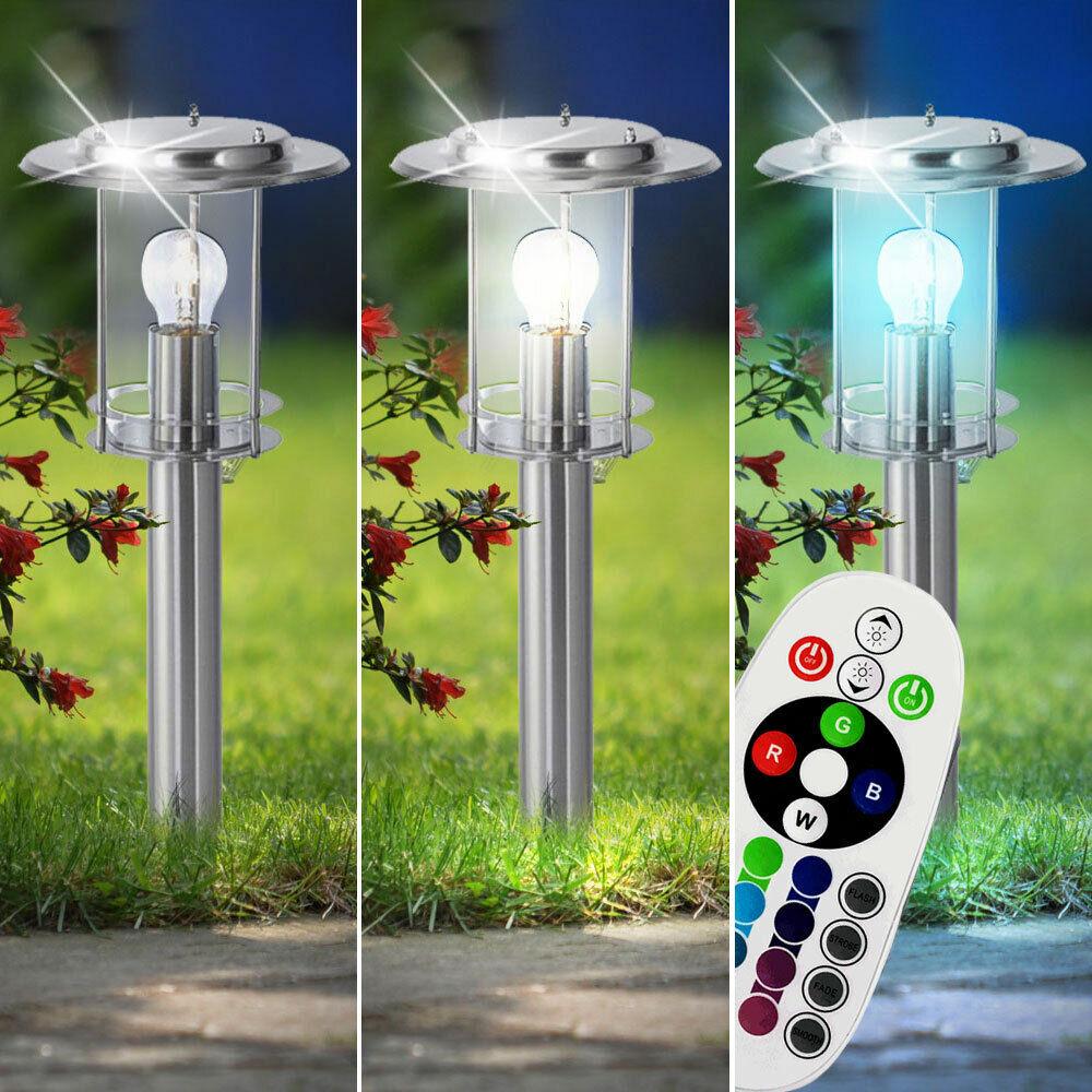 1-2x RGB LED Steh Leuchten Garten Lampen Fernbedienung Außen Laternen dimmbar