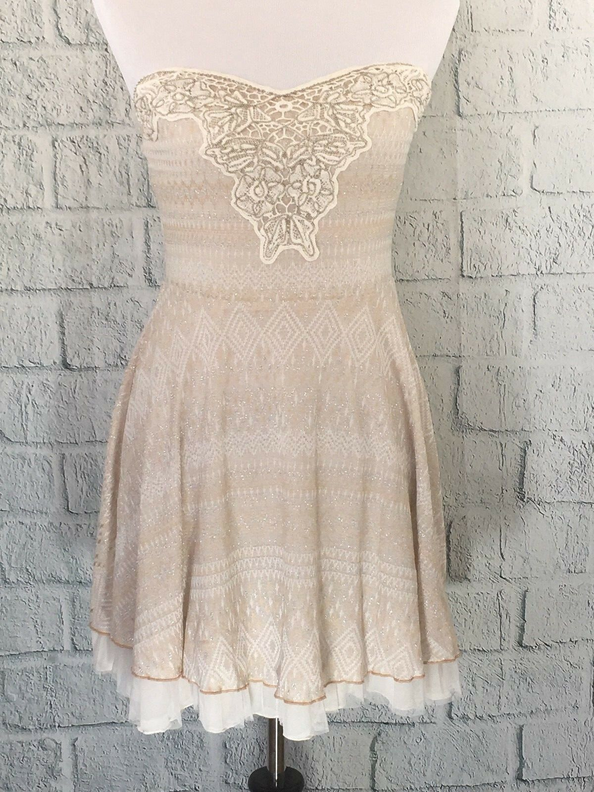 New Free People Twinkle And Twirl Fit & Flare Strapless Mini Dress Beige M