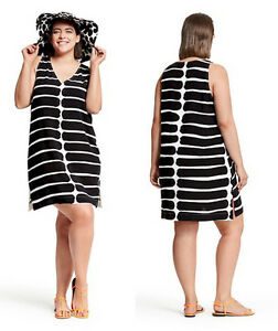 c69827c16a3e9d Image is loading Marimekko-Target-Sleeveless-Black-White-Dress-Swim-Cover-