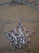 "Lenox 4"" Star Pendant Necklace Silver tone red blue stones Boho Cord Tie Gypsy"