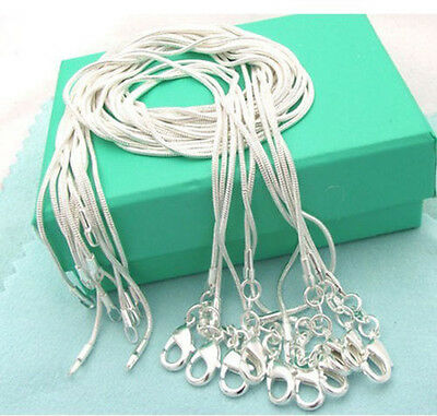 Wholesale Lots 5pcs Silver Plated Snake Chain Necklace 16-24 inch 1mm Chain