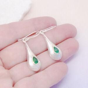 Indischer-Smaragd-Tropfen-gruen-Design-Ohrringe-Ohrhaenger-925-Sterling-Silber-neu
