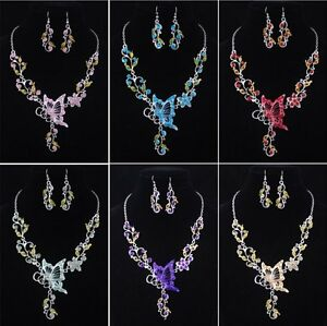Fashion-Ladys-Butterfly-costume-Necklace-Earring-1set-acrylic-alloy-W19758