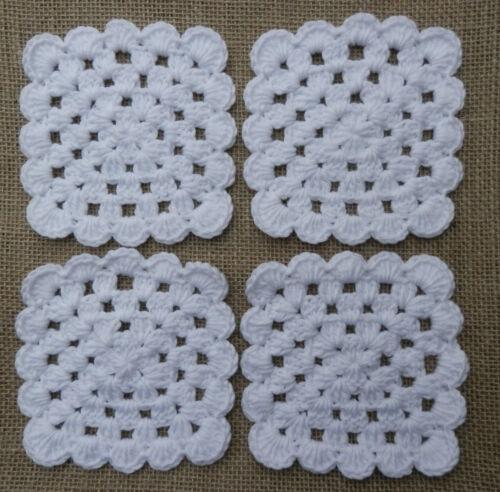 X4 handcrochet coasters-shabby chic cadeau de noël accueil accessoires-divers