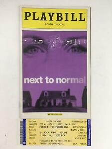 2010 Playbill Next To Normal by Alice Ripley at Booth Theatre with Tickets