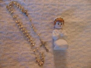 ROSARY Precious Moments Catholic First Holy Communion Rosary Heart Beads +Figure