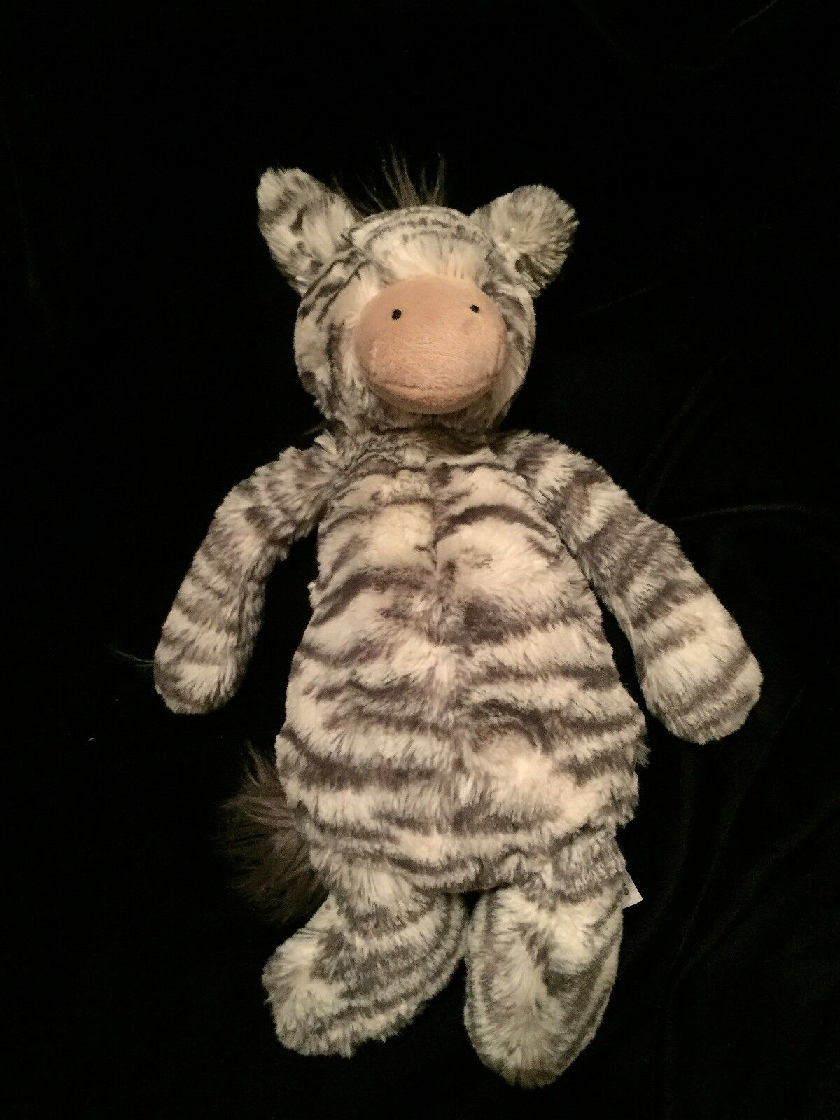 Jellycat Bashful Zebra Soft Toy Medium Plush Comforter Plush Stripe Grey White
