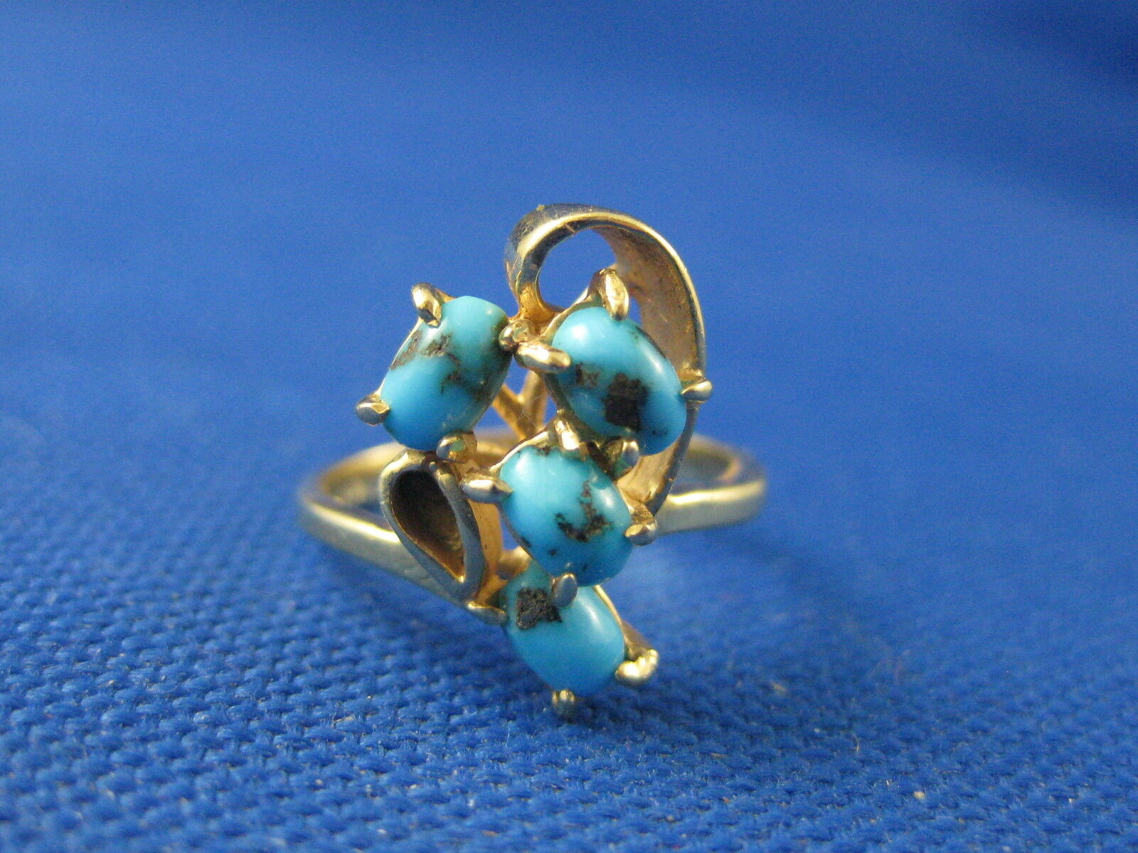 VINTAGE 14K YELLOW gold TURQUOISE RING SIZE 5 3 4