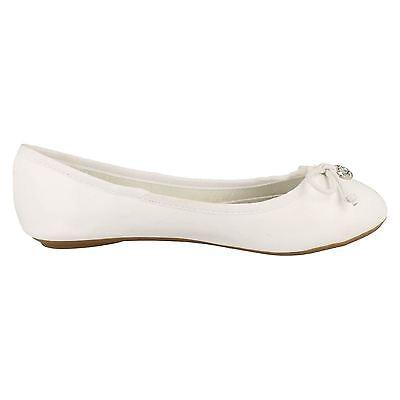 Ausverkauf Spot on f80014 Damen weiß Synthetik Slipper Balleina Schuhe